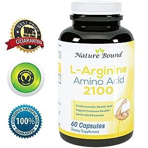 ★ 100% Pure L-arginine ★ Premium Amino Acids Formula for Pre-work Out - Support Nitric Oxide ★ 1000mg Per Capsules - Guaranteed By Nature Bound