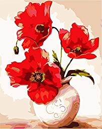 [ New Release, Wooden Framed or Not ] Diy Oil Painting by Numbers, Paint by Number Kits - Vase with Red Flowers 16*20 inches - PBN Kit for Adults Girls Kids White Christmas Decor Decorations Gifts