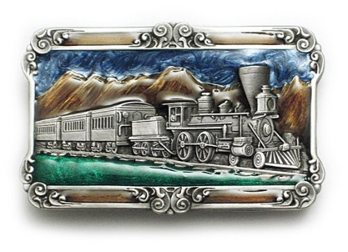 RAILROAD TRAIN Belt Buckle Pewter & Enamel