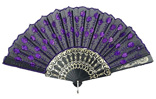 COCOTINA Embroidered Flower Peacock Pattern Sequin Fabric Folding Handheld Hand Fan Hand (Purple) (Hand Fan Purple compare prices)