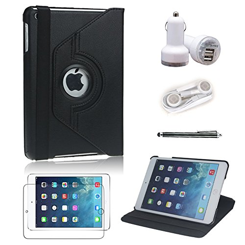 [5 In 1 Bundle] L&F 2014 New Arrival Top Quality Pu Leather Cover Case (Black) For Ipad Mini / Ipad Mini 2 - 360 Degree Rotating ¨C Multi Angle Stand - Auto Sleep / Wake Function With Stylus Pen, Screen Protector, Car Charger And Earphone (Black 5In1)