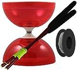 """Juggle Dream - Diábolo """"Typhoon"""", palos de control en aluminio y cuerda profesional de 10 m, color rojo (AMPAC-008/RED)"""