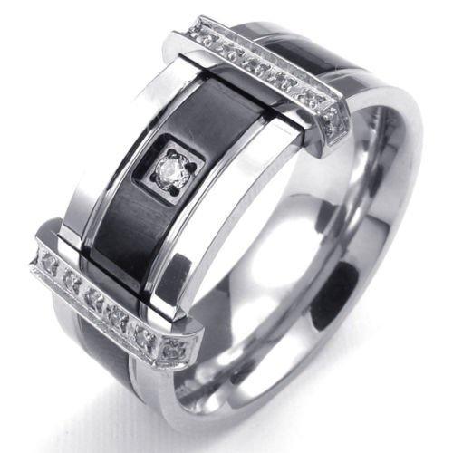 (キチシュウ)Aooazジュエリー メンズステンレスリング指輪 ホワイトCZダイヤモンド入り エレガントシンプルデザイン ブラックとシルバー 高品質のアクセサリー 日本サイズ19号(USサイズ9号)