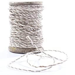Vintage Look Aged Wood Spindle with Coarse Textured Tan and White Baker\'s Twine