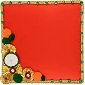 Festivities Satin Decorative Tray (28 Cm X 24 Cm X 28 Cm, FE09)