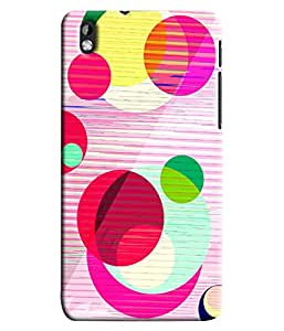 Blue Throat Pink And Other Circle Design Hard Plastic Printed Back Cover/Case For HTC Desire 816