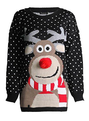 fast-fashion-damen-unisex-rudolph-drucken-3d-nase-pom-pom-weihnachts-pullover