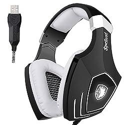 Sades Pc Stereo Gaming Headset Headband Headphone with High Sensitivity Mic Usb Plug Flashing Light (Black White)