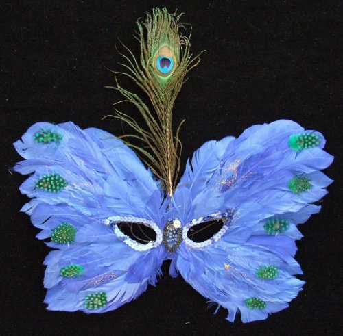 Royal Blue Venetian Butterfly Feather Mask Mardi Gras Masquerade Halloween Costume