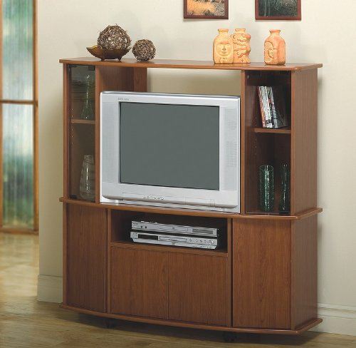Contemporary Cherry Finish Entertainment Center TV Stand
