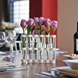 White Six-Tube Hinged Movable Vase on Rings Stand