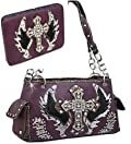 Purple Cross & Wing Rhinestone Purse W Matching Wallet
