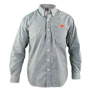 Texas Longhorns Focus Black Buttondown Long Sleeve Shirt by Antigua