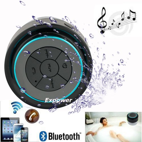 Expower(R) Ipx7 Waterproof Shockproof Wireless Bluetooth Stereo Speaker For Outdoor Excise And Shower (Black+Blue)