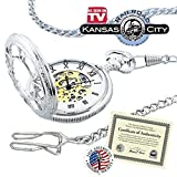 """Kansas City Railroad Pocket Watch- Antique Style - in Silver Tone with Butterfly Hinge and 26"""" Pocket Chain- Nostalgic Time-Piece inspired by Jesse James' Train Robbery 1874 - comes with Certificate of Authenticity (As Seen ON TV)"""