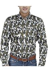 Unixx Men's Casual Shirt (UN66_Dark Green_44)