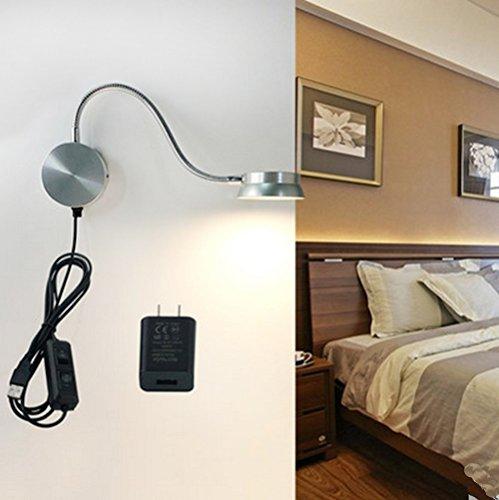 led wall lamp waycom 6w gooseneck reading light usb