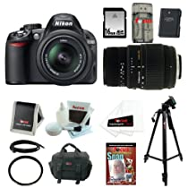 Nikon D3100 14.2MP Digital SLR Camera with 18-55mm f/3.5-5.6 AF-S DX VR Nikkor Zoom Lens and Sigma 70-300mm f/4-5.6 SLD DG Macro Lens with built in motor + EN-EL14 Battery + 16GB Deluxe Accessory Kit