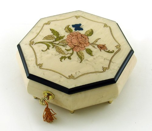 Immaculate 36 Ivory Stain Octagonal Music Jewelry Box with Rose and Butterfly Inlay (Dark Eyes & Kalinka)