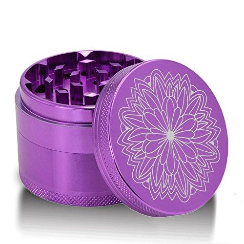 DCOU-New-Design-Premium-Aluminium-Herb-Tobacco-Weed-Grinder-22-Inches-4-Piece-Metal-Grinder-with-Pollen-Catcher-with-Laser-Flower-Pattern-Purple