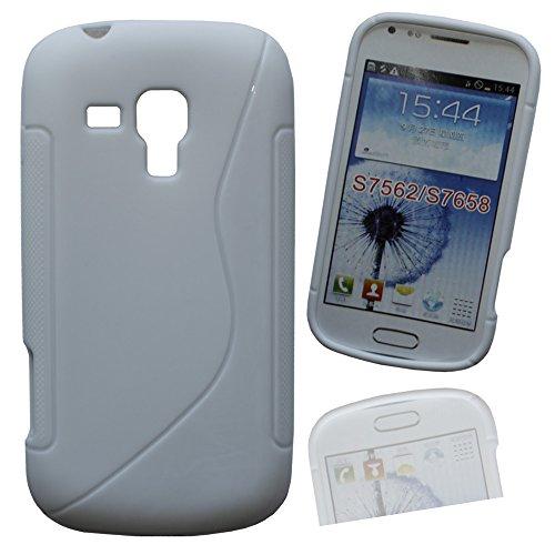 Silikon Case Hülle Etui Handytasche Handykondom Back Cover in weiss für Samsung Galaxy Trend GT-S7560 / S Duos GT-S7562 / Plus GT-S7580 / S Duos 2 GT-S7582 inkl. World-of-Technik Touchpen