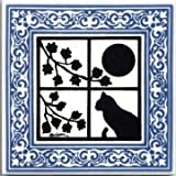 CAT TILE - CAT WALL PLAQUE - CAT TRIVETS WITH BLUE VICTORIAN BORDER: CA-5B by Besheer Art Tile