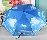 Blue Sky and White Cloud Pattern Painting Folding Umbrella