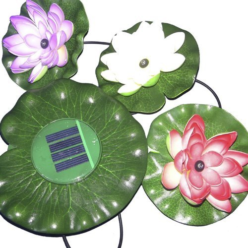 Rivenan 3 Leds Solar Power Energy Floating Led Lotus Light