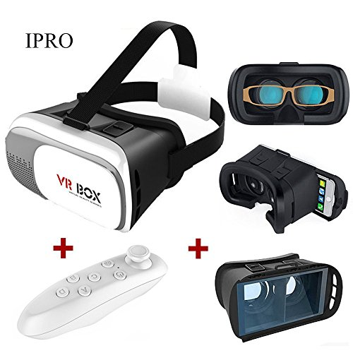 3D VR Glasses,IPRO 3D Virtual Reality Headset Google Cardboard VR Box 2.0 Version DVD Movies VR Video Games Helmet for 3.5-6.0 Inch Smartphone IOS iphone&Android+Bluetooth Remote Controller