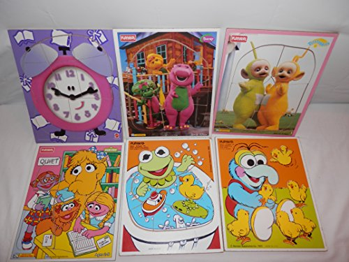 9-Wood Puzzles Barney, Baby Boop, Baby Gonzo, Happy Clock, Bright Numbers, Teletubbies, Baby Kermit, Sesame Street, Madeline, front-928300