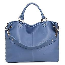 Sonyabecca Women Leather Handbag Travel Tote Bag for 13.3\'\' Laptop, blue, normal