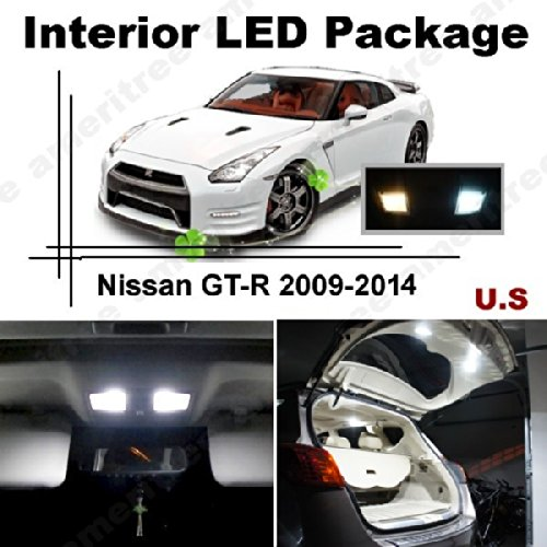 Ameritree Xenon White Led Lights Interior Package + White Led License Plate Kit For Nissan Gt-R 2009-2014 (7 Pcs)