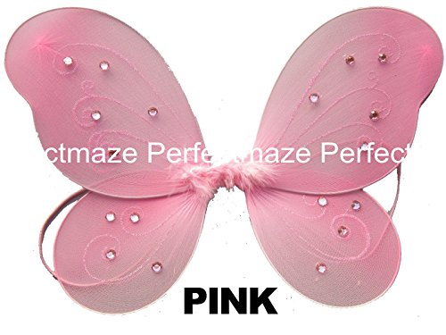 "Perfectmaze 12"" x 10"" Infant Child Fairy Princess Butterfly Wings Costume - Pink"