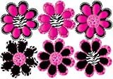 Hot Pink Animal Print octi- petal Flower Wall Stickers,Decals