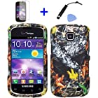 4 items Combo: Mini Stylus Pen + LCD Screen Protector Film + Case Opener + Outdoor Wildlife Leaves Oak Wood Camouflage Design Rubberized Snap on Hard Shell Cover Faceplate Skin Phone Case for Straight Talk Samsung Galaxy Proclaim 720C SCH-S720C / Verizon Samsung Illusion i110