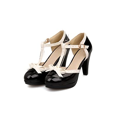 Lucksender Fashion T-Strap Bows Women's Platform High Heel Pumps Shoes