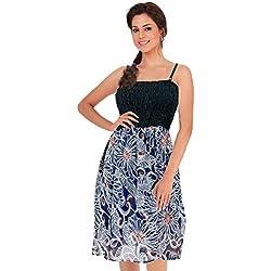 one-size-fits-più partywear tubino / insabbiamento -sheer fiore stampato blu navy