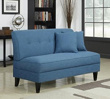 Portfolio Engle Caribbean Blue Linen Armless Loveseat Settee Small Sofa Couch