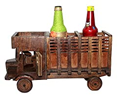Wooden Vintage Antique Lorry Truck Shape Bottle/ Wine Bottle Holder Decorative Showpiece