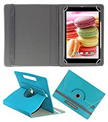 Acm Rotating 360° Leather Flip Case For Lava Ivory M4 Cover Stand Greenish Blue