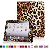 Fintie Folio Case for iPad 4th Generation with Retina Display, the New iPad 3 & iPad 2 Slim Fit Stand Smart Cover with Auto Sleep / Wake Feature - Leopard Brown