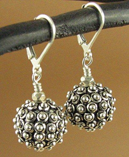 Silver spikey ball large fancy earrings. Lever back hooks. Sterling 925.