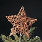 Natural Rattan 3D Star Christmas Tree Topper - Clear Lights