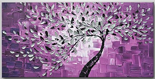 100% Hand-Painted Best-Selling Quality Goods Free Shipping Wood Framed On The Back Knife Products Get Rich Purple Tree High Q. Wall Decor Landscape Oil Painting On Canvas