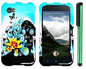 HTC First Combination - Premium Vivid Design Protector Hard Cover Case / 1 of New Assorted Color Metal Stylus Touch Screen Pen (Butterfly Yellow Lily Flower Blue Splash)