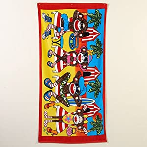 Velour Jacquard Sock Monkey Print Beach Towel