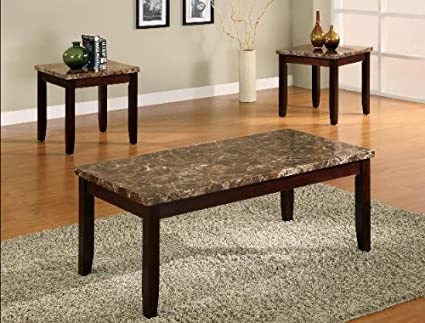 Brand New 3-pk Ferrara Coffee Table and End Tables Cocktail set with Marble Top