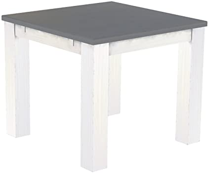 Brasil Furniture Silk Grey 'Rio' 90 x 90 cm, Solid Pine Wood Dining Table, White