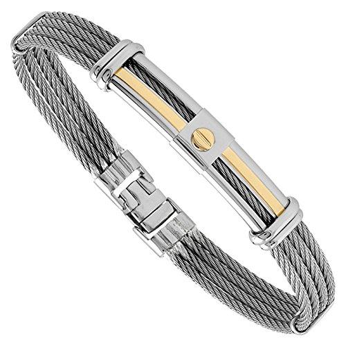 jourdan fz012 bracelet homme acier et or c ble gris bijouterie carr or. Black Bedroom Furniture Sets. Home Design Ideas