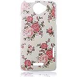 YOKIRIN Pink Blume Weiß Bemalt PC Plastik Hart Cover Hardcase Schutzhülle für HTC One X Transparent Handyhülle Backcover Harte Rückseite
